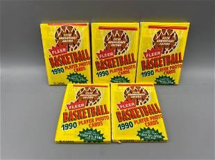 1990-91 Fleer Basketball Lot of 5 Unopened Packs