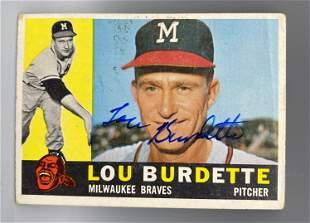 1960 Topps Lew Burdette Autographed Card - No COA