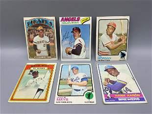 1972-1977 Topps Baseball Lot of 6 Hall of Famers -