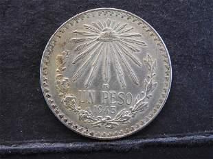 1943 Mexico One Peso - 90% Silver