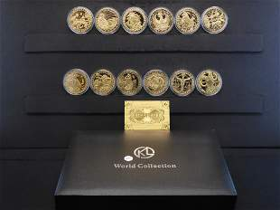 12 Large 24 Kt. Gold Plated Complete Zodiac Coin