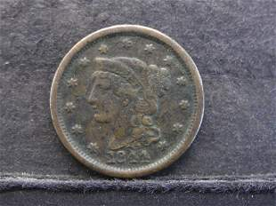 1844 Braided Hair Large Cent - Nice Details