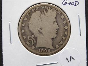 1898 Barber 50c. Good.