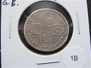 1745 Great Britain Silver Shilling.