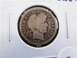 1901-O Barber 10c. Good+.