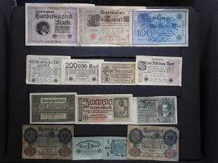Misc. Vintage German Currency. 14 Pieces.