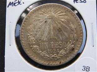 1924 Mexico Silver Peso.