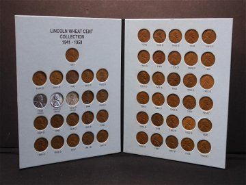 1941-1958 Lincoln Cent Set.  Complete Set.  Circulated.
