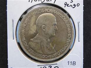1930 Hungary 5 Pengo. Silver.
