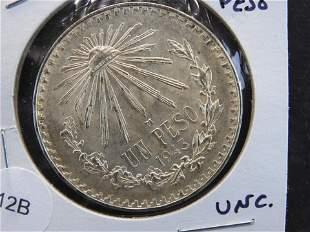 1943 Mexico Silver Peso. UNC.