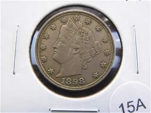 """1898 Liberty """"V"""" Nickel. XF."""