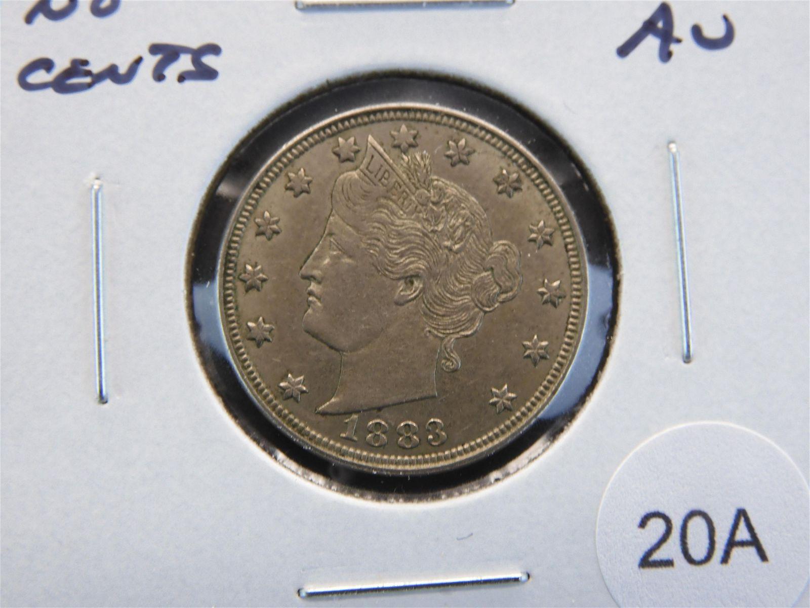 "1883 No Cents Liberty ""V"" Nickel. AU."