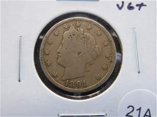 "1891 Liberty ""V"" Nickel. VG+."