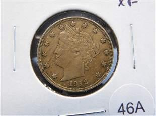 """1912 Liberty """"V"""" Nickel. XF."""