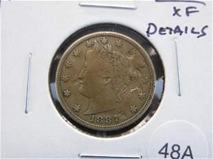 "1887 Liberty ""V"" Nickel. XF Details."