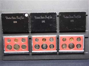 1980-S, 1981-S & 1982-S United States Proof Sets With