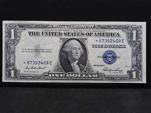 1935-E Uncirculated $1 Blue Seal Star Note Silver
