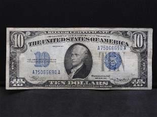 1934 $10 Blue Seal Silver Certificate. Serial #