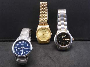 Lot of 3 Men's Wrist Watches - 1 Each of Seiko, Timex &