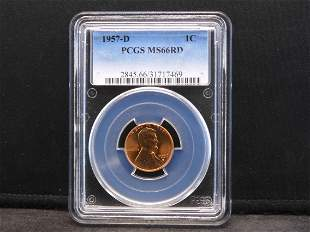 1957-D PCGS MS66 RD Lincoln Wheat Cent