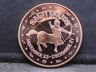 Copper - 1 Oz. .999 Fine Round Featuring the Zodiac -
