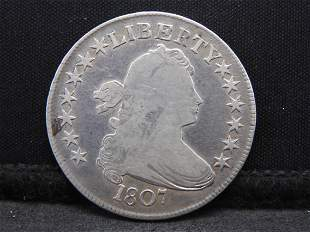 1807 Draped Bust Silver Half Dollar - Rare Early Type