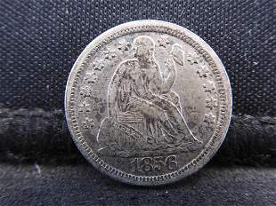 1856 w/ Stars Seated Liberty Silver Dime - Large Date!