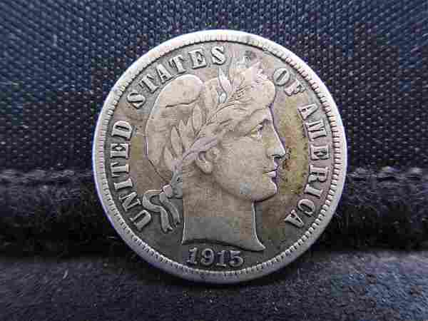 1915 Barber Silver Dime - Great Detail!