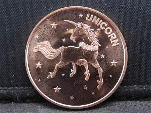 Copper - 1 Oz. .999 Fine Round Featuring the Unicorn