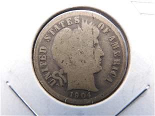 1904 Barber Silver Dime