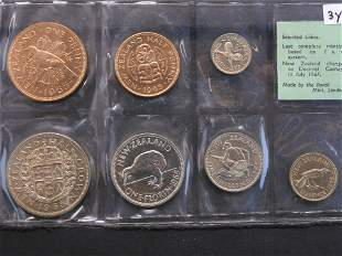 1965 Coins of New Zealand - 7 Brilliant Uncirculated