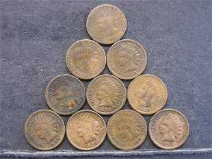 1800's Indian Head Cents - 10 Nice Coins - Better Dates