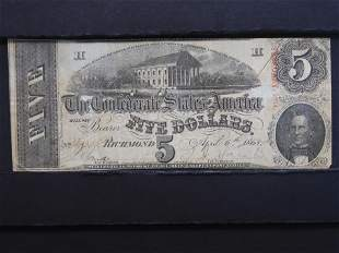1863 $5 Richmond Confederate Note - Graded Avg. Circ by