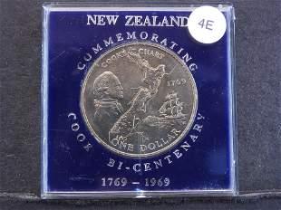 1969 New Zealand Cook Island Bi-Centenary Comm. Dollar
