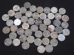 Roll of 50- 1943 Steel Wheat Pennies.