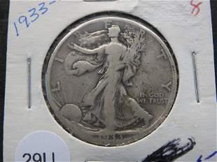 1933-S Better Date Silver Walking Liberty Half Dollar