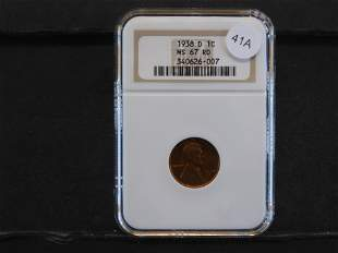 1938-D Lincoln Wheat Cent Graded by NGC MS 67 RD