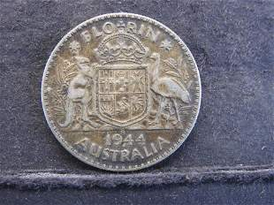 1944-S Australia One Florin 92.5% Silver 11.3 Gr.
