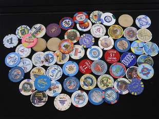 Lot of 58 Various Casino Chips
