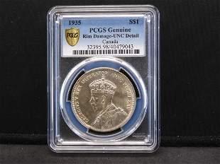 1935 PCGS Genuine Rim Damage-UNC Detail Canada Silver