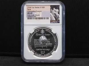 2018 NGC MS69 1 Oz. Serbia Silver $100 D Tesla