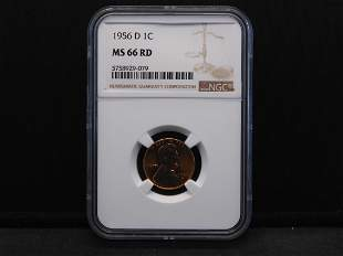 1956-D NGC MS66 RD Lincoln Wheat Cent