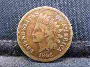1866 Indian Head Cent - Key Date & VF Condition