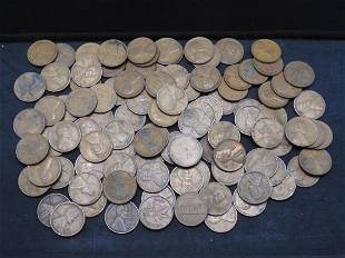 100 Lincoln Head Wheat Cents.