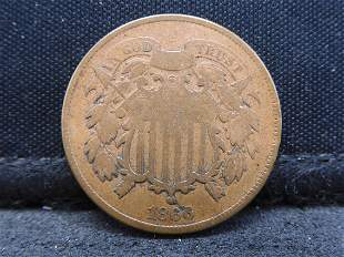1866 Two Cent Piece. VG
