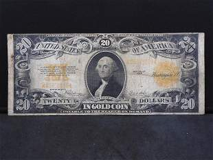 1922 $20 Gold Certificate. VG. No Holes. Ink on