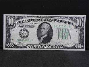 1934-A $10 Federal Reserve Note. Chicago Bank. Choice