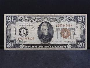 """1934-A """"Hawaii"""" $20. Emergency Currency from WWII."""