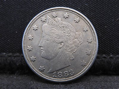 1883 V-Nickel.  Full Bold Liberty.  First Year Of
