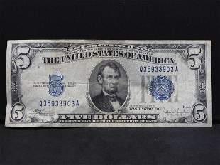 1934-C $5 Blue Seal Silver Certificate. Serial #
